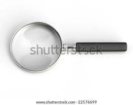 Isolated magnifying glass on white background. For other similar images from the series, please, check my portfolio. - stock photo