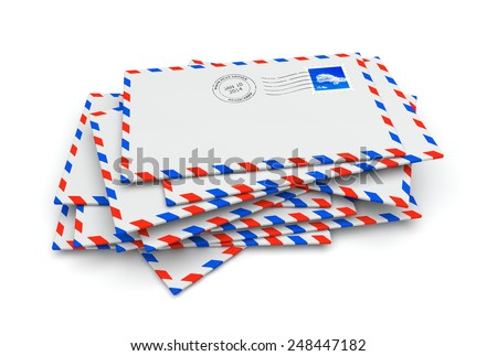 Isolated mail letter envelopes with postage stamp and postmark - stock photo