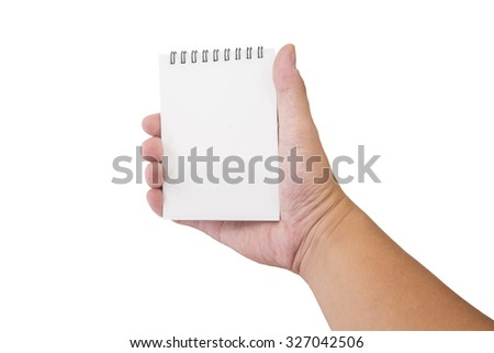 isolated male hand Hold blank notebook