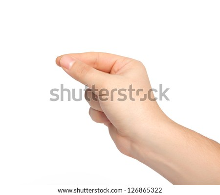 isolated male hand holding an object - stock photo