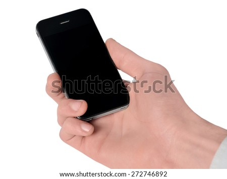 Isolated male hand holding phone - stock photo