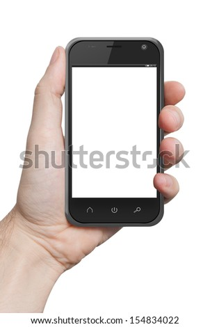 isolated male hand holding the phone similar to iphone tablet touch computer gadget with isolated display - stock photo