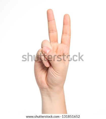 isolated male hand showing number two - stock photo