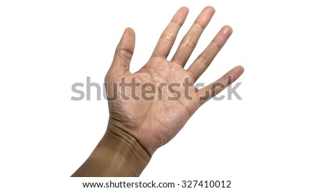 Isolated male hands express emotions