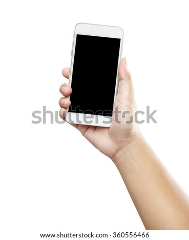 Isolated male hands holding the phone similar like iphone in white background  - stock photo
