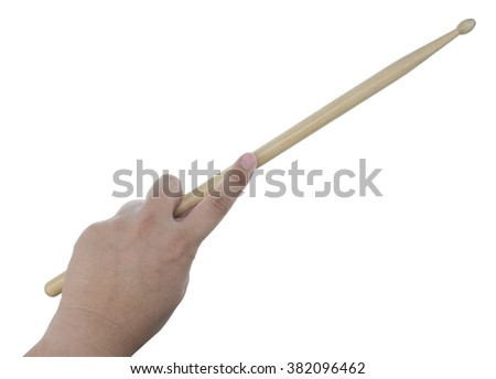 Isolated male left hand holding drum stick on white background