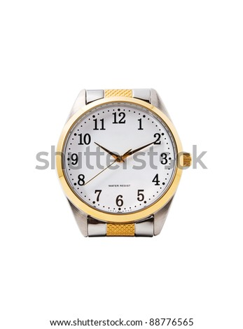 isolated male watches, no bracelets, white background - stock photo