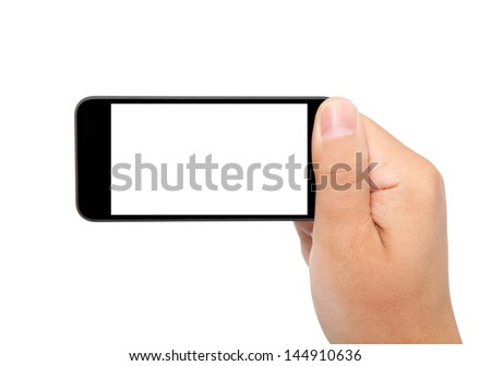 isolated man hand holding the phone with isolated screen - stock photo