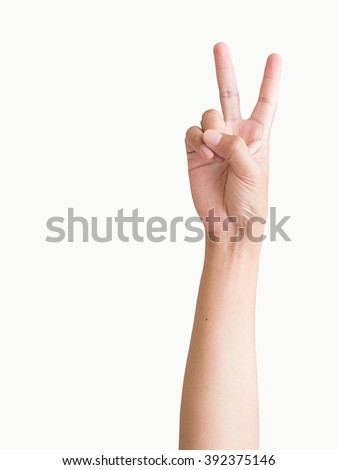 isolated man hand shows the number, fighting, encouragement sign on white background - stock photo