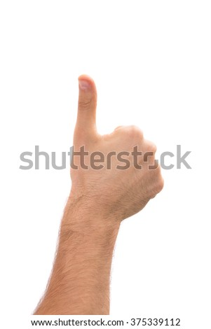 isolated man's hand giving thumb up