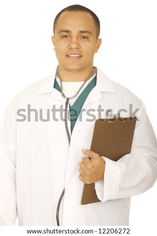 isolated man wearing medical uniform holding clip board and smile