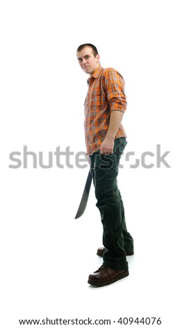 Isolated man with machete