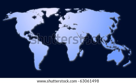 isolated map of the world with all continents showing global economy - stock photo