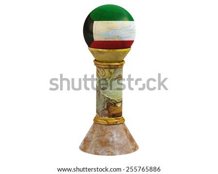 isolated map shaped flag of Kuwait with full moon on marble base  - stock photo