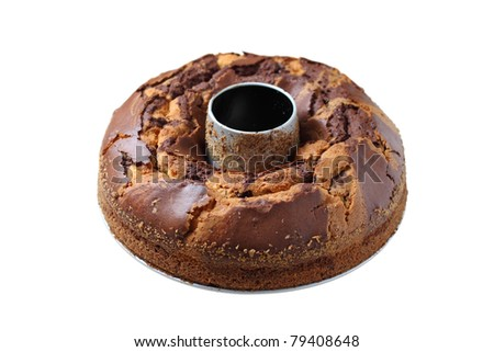 isolated marble cake - stock photo