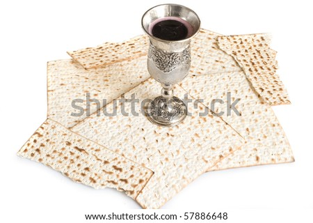 isolated matzot with red wine