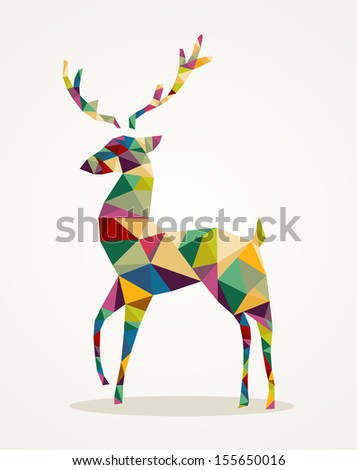 Isolated Merry Christmas colorful abstract reindeer with geometric composition.