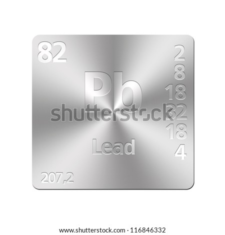 Isolated metal button with periodic table, Lead. - stock photo