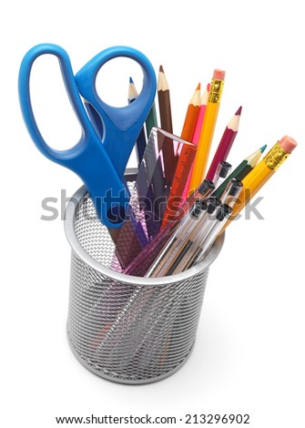 Isolated metal pot filled with pens and pencils