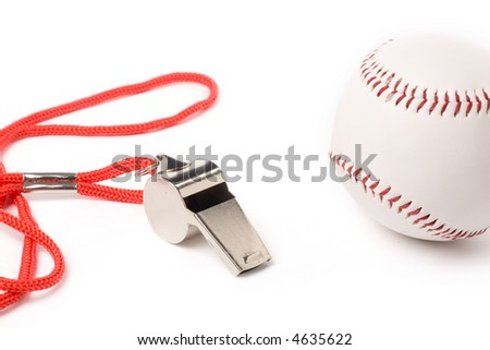 isolated metal Whistle and Baseball, sport concept - stock photo