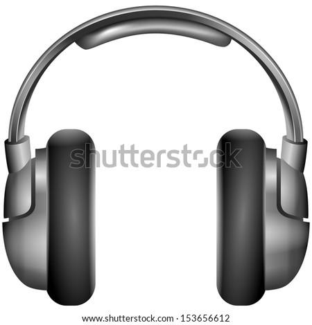 Isolated metallic headphones illustration - stock photo