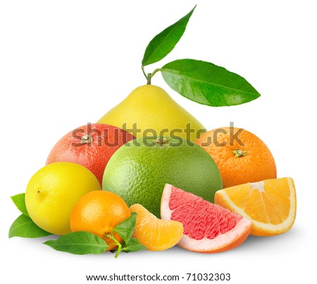 Isolated mixed citrus fruits. Pile of orange, tangerine, lemon, grapefruits and pomelo isolated on white background