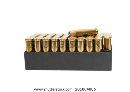 isolated .357 mm bullets on  white background - stock photo