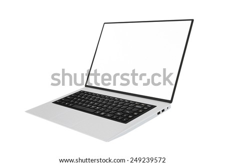 Isolated modern laptop with black chiclet-style keyboard - stock photo