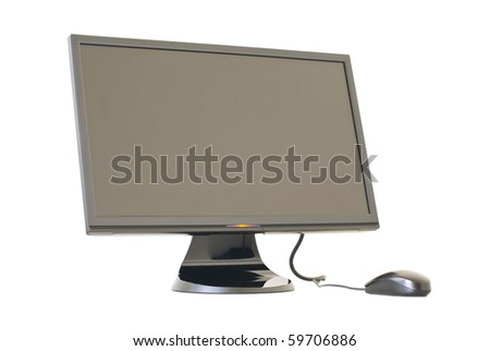 Isolated Monitor and mouse on white background - stock photo