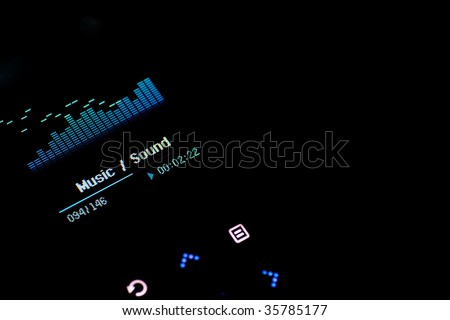 Isolated Mp3 player's image in black background - stock photo