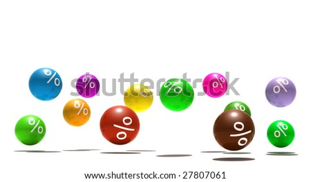 isolated multicolor spheres with percent symbol - 3d render - stock photo