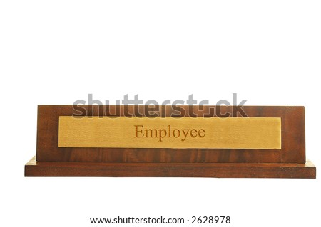 "Isolated nameplate on white with ""employee"" text - stock photo"