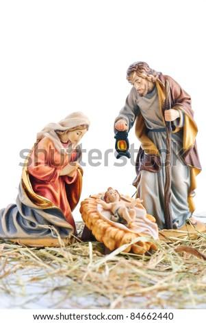 isolated nativity scene; Jesus Christ, Mary and Josef - stock photo