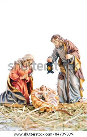 isolated nativity scene; Jesus Christ, Mary and Josef - stock photo