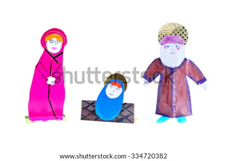 Isolated nativity scene. The birth of Christ. Christmas decoration handmade - figurines Jesus, Mary, Joseph. - stock photo