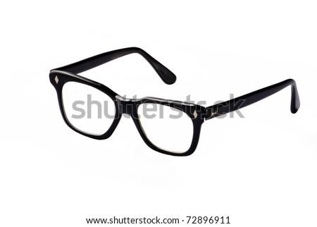 Isolated nerd glasses, thick black frame - stock photo