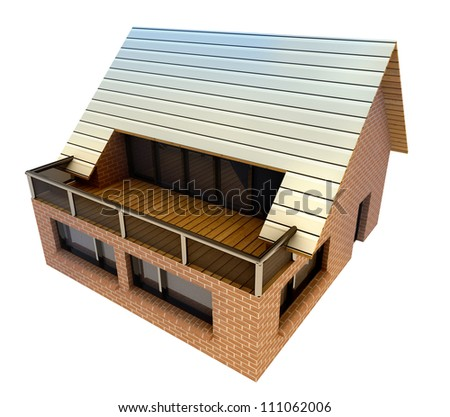 isolated new pretty big family house with terrace concept vizualization from bird view illustration - stock photo