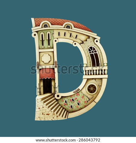 Isolated object as building letter D. Computer graphics. - stock photo