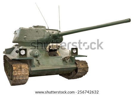 isolated object on white -  military tank - stock photo