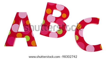 Isolated objects: ABC letter blocks isolated on white. - stock photo
