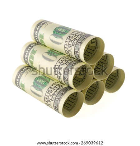 Isolated objects: financial concept, one-hundred dollar bills, rolled as tubes and piled, isolated on white background. - stock photo