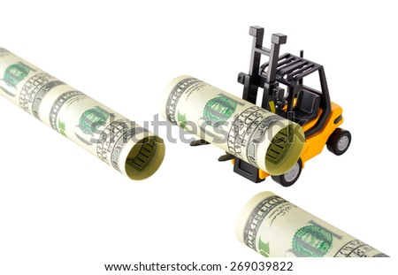 Isolated objects: financial concept, yellow forklift building a pipeline with one-hundred dollar bills, rolled as tubes, isolated on white background. - stock photo