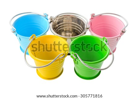 Isolated objects: five colorful buckets, arranged as a symbol of Olympic Games, isolated on white background - stock photo