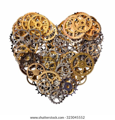 Isolated objects: heart shape made of metal pinions and sprockets, isolated on white background. Technical abstract for Valentines day or any other romantic event.  - stock photo