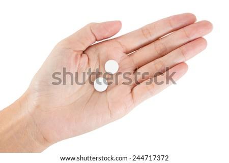 Isolated of Hand holding paracetamal. - stock photo