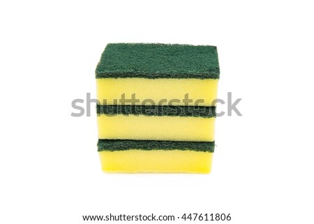 Isolated of household cleaning sponge - stock photo