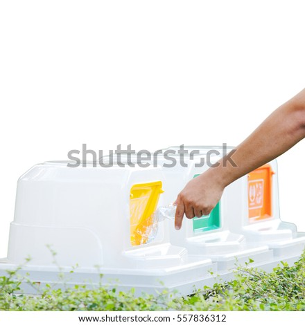 Isolated of male hand throwing empty plastic bottle recycle into the trash, ecology concept with clipping path.