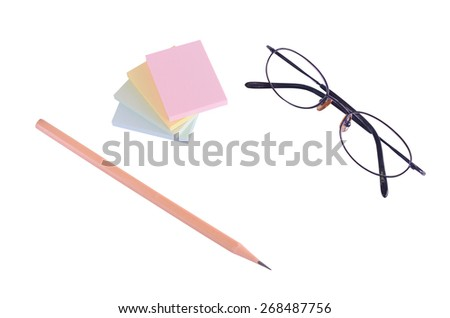 Isolated of post it note with pencil and glasses - stock photo