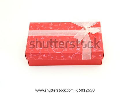 isolated of red holiday gift box - stock photo