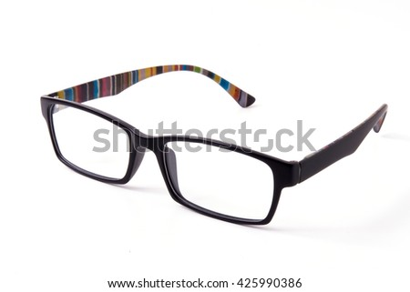 Isolated of spectacles with white background.